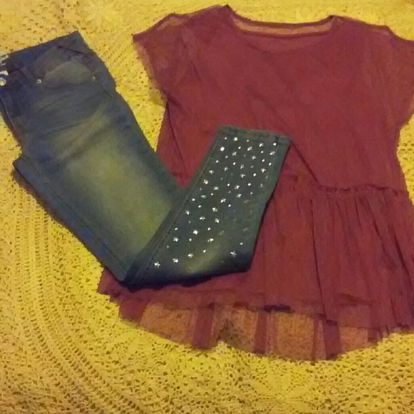Cat & Jack Other - Lace Girls Top & Studded Jeans
